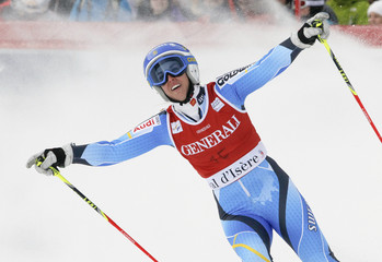 Pietilae-Holmner reacts after finishing third in the Women's World Cup Giant Slalom skiing race in Val d'Isere