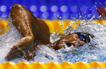 Detti of Italy swims in the men's 800m freestyle heats at the European Swimming Championships in Berlin