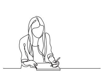 student girl writing - continuous line drawing Wall mural