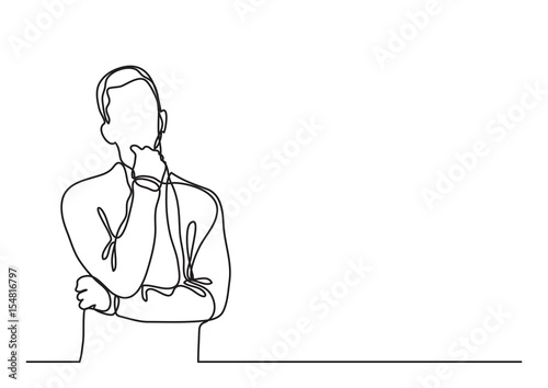 Line Drawing Man : Quot thinking man continuous line drawing stock image and