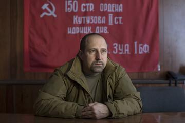 Rebel commander Alexander Khodakovsky of the Vostok Battalion speaks during an interview with Reuters in Donetsk, eastern Ukraine