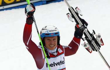 Kristoffersen of Norway reacts following the men's Slalom Alpine Skiing World Cup race in Adelboden
