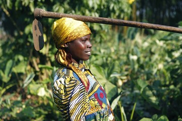A woman carries a gardening tool on her head while heading to work in the fields at Bukima