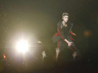 Bieber performs at KIIS FM's Jingle Ball concert in Los Angeles