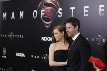 """Cast member Adams arrives with Gallo for the world premiere of the film """"Man of Steel"""" in New York"""