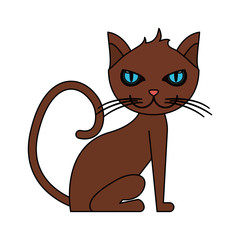 color image cartoon front view cat animal sitting vector illustration