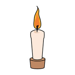 color image cartoon decorative candle spa in wooden base vector illustration