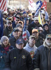 Hundreds of people gather during the Guns Across America pro-gun rally at the State Capitol in Hartford