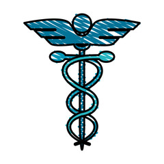 color crayon stripe cartoon health symbol with serpent entwined vector illustration