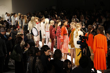 Models present creations at the Tory Burch Spring 2011 collection during New York Fashion Week