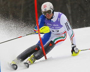 Gross of Italy competes during the men's slalom race at the Alpine Skiing World Championships in Garmisch-Partenkirchen