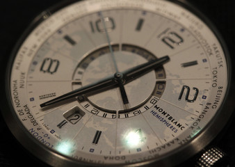 A model of the Hemispheres watch by MontBlanc is pictured at the SIHH exhibition at the Palexpo in Geneva