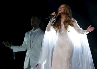 "File photo of Beyonce performing ""Take My Hand"" at the 57th annual Grammy Awards in Los Angeles"