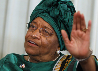Nobel Peace Prize winner Johnson-Sirleaf addresses a news conference in Oslo