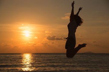 Freedom concept with young teenager happy and jump
