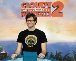 """Actor Hader, one of the voice talents from the new Sony Pictures Animation film """"Cloudy with a Chance of Meatballs 2"""", poses during a photo call in Beverly Hills, California"""
