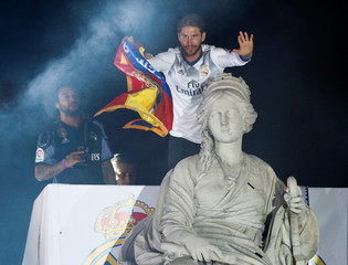 Soccer Football - Real Madrid players celebrate winning La Liga title - Spanish La Liga Santander - Madrid