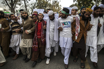 Supporters of ASWJ attend a protest in Islamabad