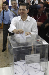 Head of Greece's radical leftist SYRIZA party Tsipras casts his ballot at a polling station in Athens
