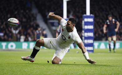 England's Ben Te'o celebrates scoring their first try