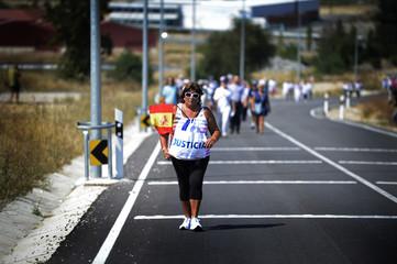 """Maria Olvido del Valle Prieto, widow of Antonio Pastor Martin, a Spanish Civil Guard killed by armed Basque ETA separatists, leads the """"March For Justice"""" near Zaballa prison"""