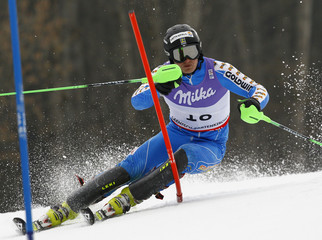 Byggmark of Sweden competes during the men's slalom race at the Alpine Skiing World Championships in Garmisch-Partenkirchen