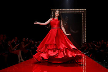 Actor Jazz Jennings takes part in the American Heart Association's Go Red For Women Red Dress Fall/Winter show during New York Fashion Week in the Manhattan borough of New York