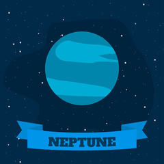 Neptune on a background of open space. Vector illustration in flat style