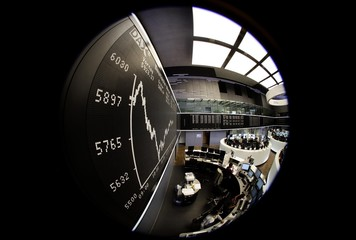 The trading floor is pictured on a super wide angle lens at Frankfurt's stock exchange