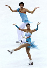 Huang and Zheng of China perform during the Ice Dance Original Dance competition at the ISU Four Continents Figure Skating Championships in Jeonju