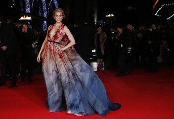 """Actress Banks arrives for the world premiere of """"The Hunger Games : Mockingjay Part 1"""" at Leicester Square in London"""