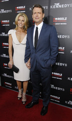 "Kinnear and his wife Helen Labdon pose at the premiere of the television series ""The Kennedys"" at the Samuel Goldwyn theatre in Beverly Hills"