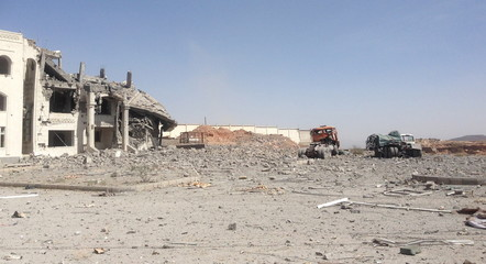 Residence of the military commander of the Houthi militant group, Abdullah Yahya al Hakim, is seen after an air strike destroyed it in Sanaa
