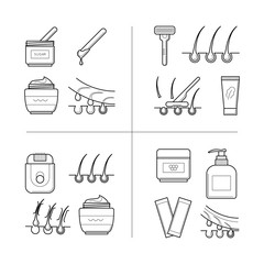 Depilation techniques in process, stages, different types of hair removal, waxing, shaving, sugaring. Beauty and body care concept, line art objects isolated on white background. Vector illustration