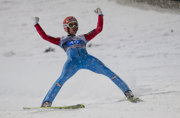 Kraft from Austria reacts after after winning the first jumping of the 63rd four-hills ski jumping tournament in Oberstdorf