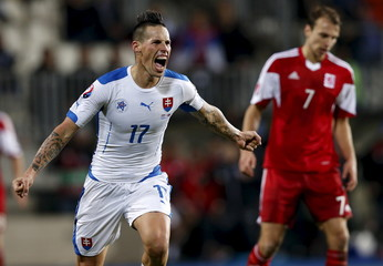 Slovakia's Hamsik celebrates after scoring against Luxembourg during their Euro 2016 group C qualification match at the Josy Barthel stadium in Luxembourg