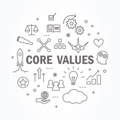 Core values thin line icon set. Vector illustration.