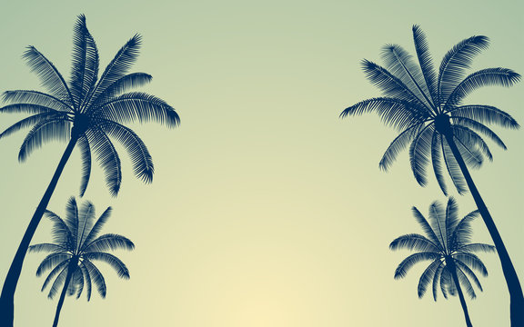 Silhouette palm tree and sunset sky in flat icon design with vintage filter background