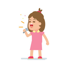 Happy cute girl sing a song, vector cartoon illustration.