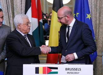 Palestinian President Mahmoud Abbas attends a joint declaration with Belgian Prime Minister Charles Michel after a meeting in Brussels