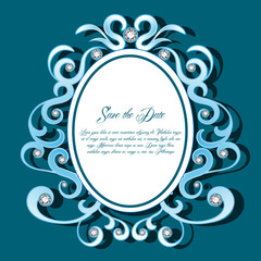 Round Diamond Vintage Frame ,Blue Background,Luxury Card,Jewelry,Elegant Gem Card Vector
