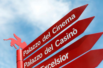 "A sign reading ""Cinema's Palace"" is seen before the 73rd Venice Film Festival in Venice"