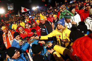 German biathlete Neuner signs autographs during the opening ceremony of the Biathlon World Championships in Ruhpolding