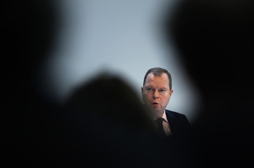 Terium, chief executive of German power supplier RWE, addresses the company's annual news conference in Essen