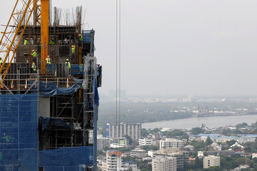 A building is seen under construction in Bangkok, Thailand