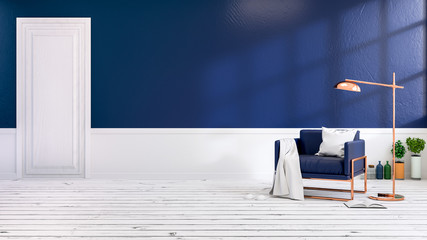 Modern loft  interior of living room with blue  armchairs on white flooring and dark blue wall .empty room ,3d rendering
