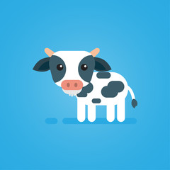 Poster Ranch Happy cute cow flat design on blue background, vector icon illustration.