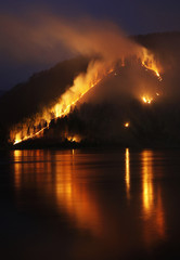Dry grass, bushes and trees burn on the bank of the Yenisei River in Taiga district