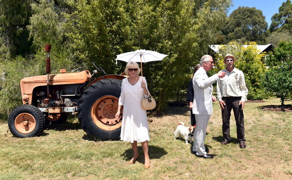 Britain's Prince Charles and Camilla the Duchess of Cornwall tour Oranje Tractor Wines with owner Murray Gomm in Albany, Western Australia