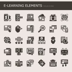 E-learning Elements , Thin Line and Pixel Perfect Icons